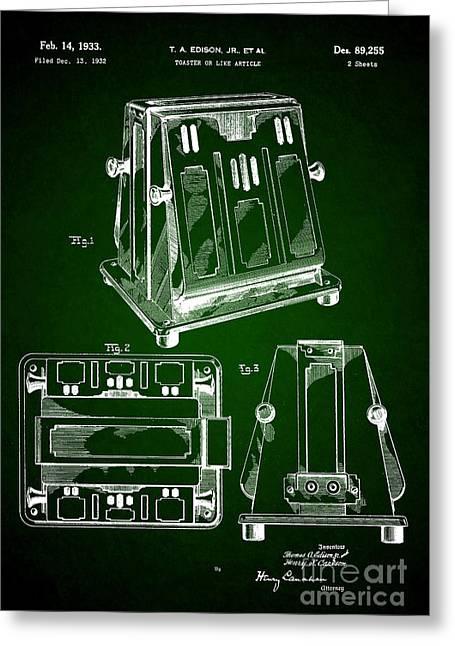 Thomas A. Edison Jr. Toaster Patent 1933 3 Greeting Card