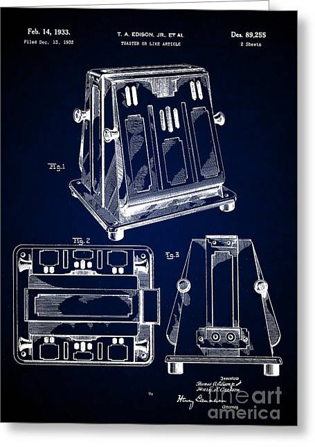Thomas A. Edison Jr. Toaster Patent 1933 4 Greeting Card