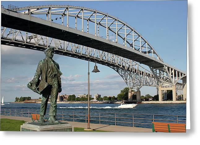 Thomas Edison And Blue Water Bridge 1 Greeting Card