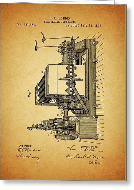 Thomas Edison Generator Patent Greeting Card by Dan Sproul