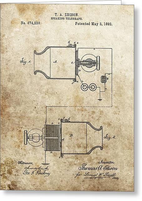 Thomas Edison Speaking Telegraph Patent Greeting Card by Dan Sproul