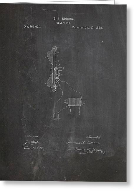 Thomas Edison Telephone Patent Greeting Card by Dan Sproul
