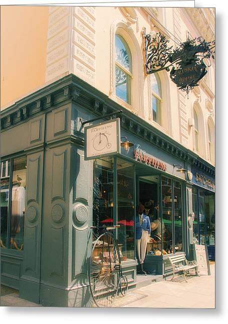 Bloomsbury London Shops Greeting Card by Georgia Fowler