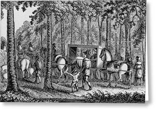 Thomas Hooker And His Congregation Traveling Through The Wilderness Greeting Card by American School