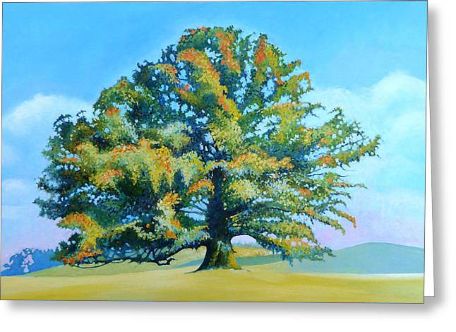 Thomas Jefferson's White Oak Tree On The Way To James Madison's For Afternoon Tea Greeting Card by Catherine Twomey