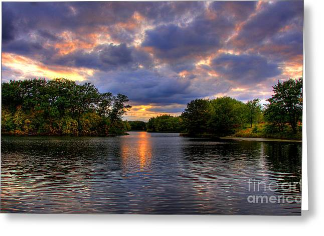 Thomas Lake Park In Eagan On A Glorious Summer Evening Greeting Card