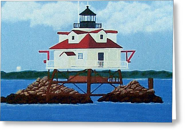Greeting Card featuring the painting Thomas Point Shoal Lighthouse by Frederic Kohli