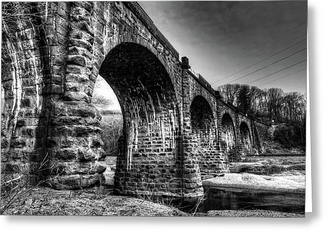 Greeting Card featuring the photograph Thomas Viaduct In Black And White by Dennis Dame