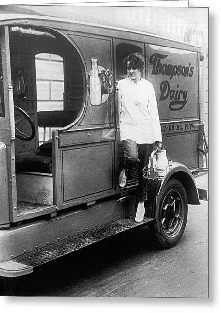 Thompson's Dairy Milkwoman Greeting Card by Underwood Archives
