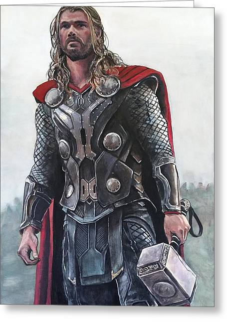 Thor The Thunder God Greeting Card by Tom Carlton