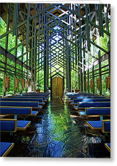 Greeting Card featuring the photograph Thorncrown Chapel Serenity by Cricket Hackmann