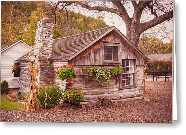 Greeting Card featuring the photograph Thorp Cabin Door County Wisconsin by Heidi Hermes