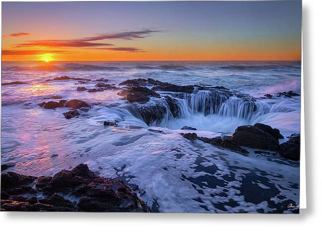 Thor's Well At Sunset Greeting Card by C Steele