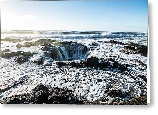 Thor's Well Greeting Card by Pelo Blanco Photo