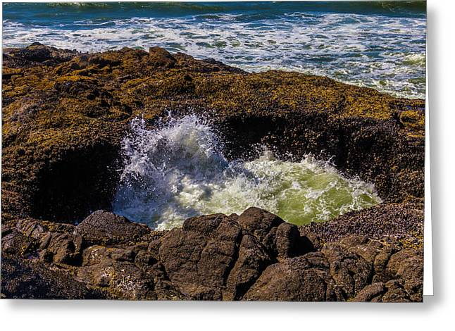 Thor's Well Sunken Cave Greeting Card by Garry Gay