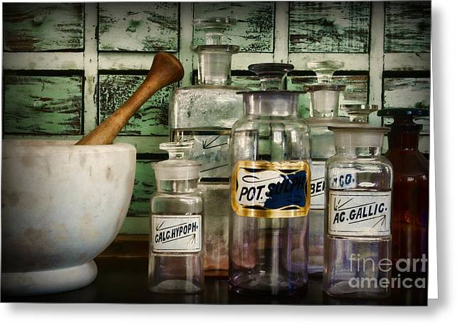 Those Old Pharmacy Bottles Greeting Card by Paul Ward