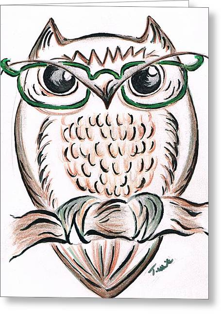 Owl- Those Spectacles  Greeting Card by Teresa White