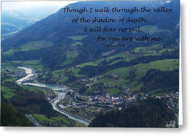 Though I Walk Through The Valley Greeting Card by Krista Kulas