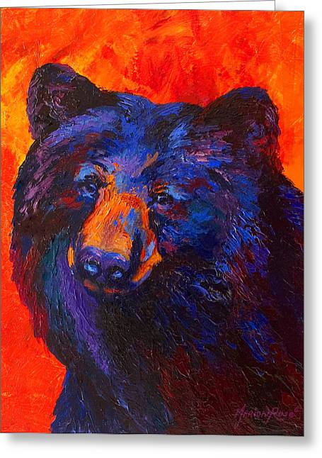 Thoughtful - Black Bear Greeting Card by Marion Rose