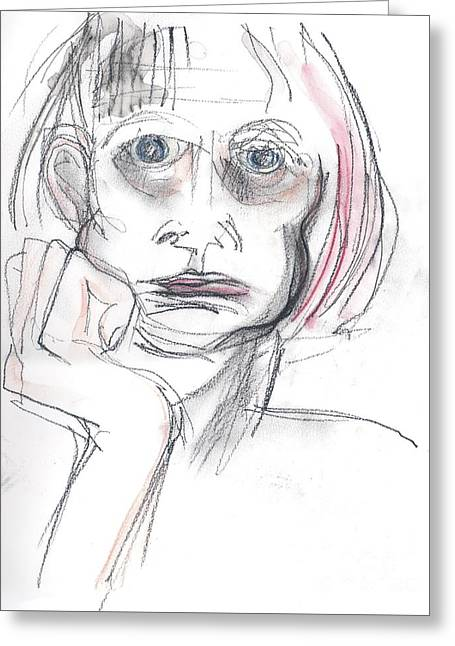 Greeting Card featuring the drawing Thoughtful - A Selfie by Carolyn Weltman