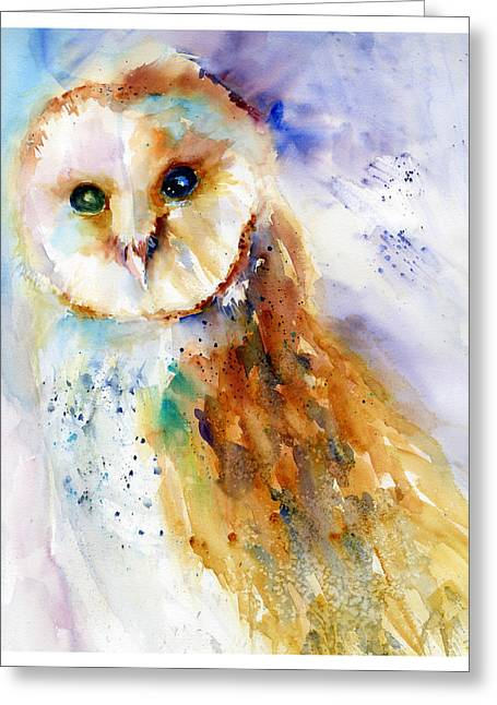 Thoughtful Barn Owl Greeting Card by Christy Lemp
