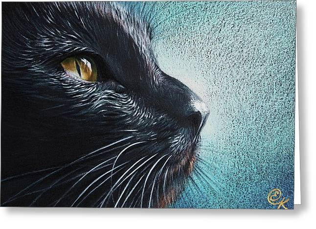 Cat Drawings Greeting Cards - Thoughtful Cat Greeting Card by Elena Kolotusha