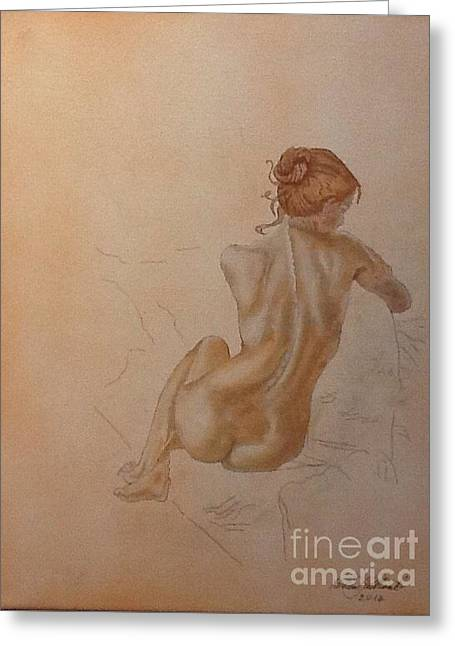 Thoughtful Nude Lady Greeting Card