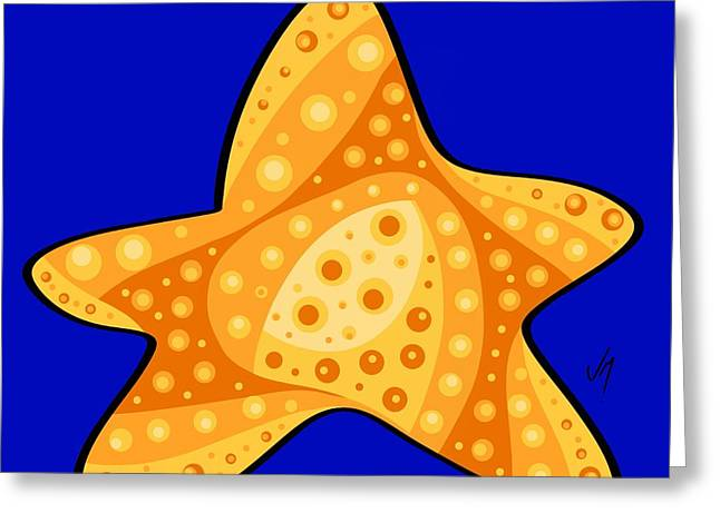 Greeting Card featuring the painting Thoughts And Colors Series Starfish by Veronica Minozzi