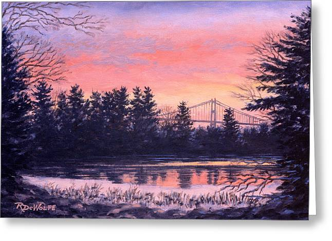 Landscapes Paintings Greeting Cards - Thousand Island Sunrise Greeting Card by Richard De Wolfe