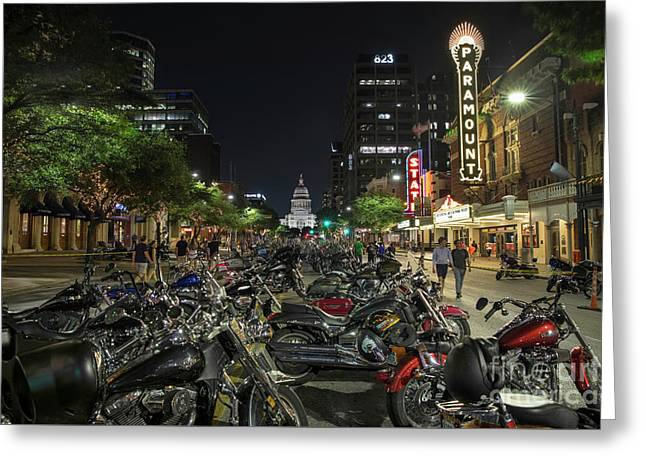 Thousands Of Custom Hogs Or Harley Davidson Motorcycles Line Up Congress Avenue In Downtown Austin Greeting Card by Herronstock Prints