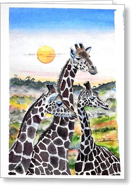Three Giraffes    Sold Greeting Card by Richard Benson