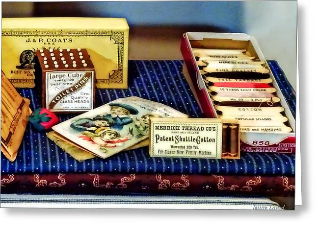 Thread And Pins In General Store Greeting Card