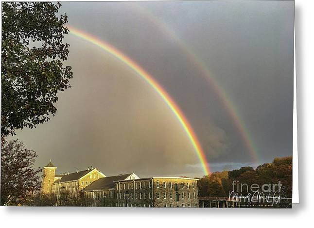 Greeting Card featuring the photograph Thread City Double Rainbow  by Michael Hughes