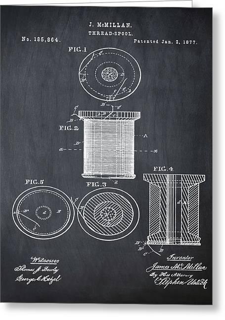 Thread Spool Patent 1877 Chalk Greeting Card