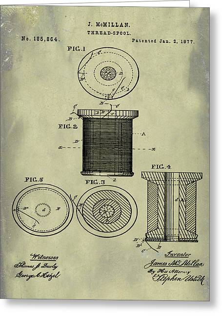 Thread Spool Patent 1877 Weathered Greeting Card