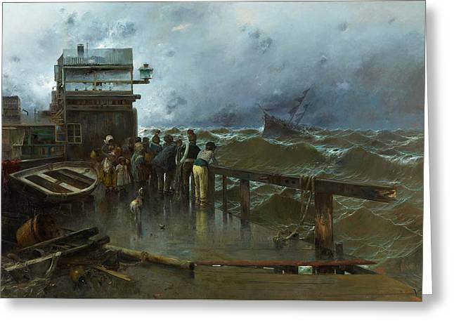 Threat Of Shipwreck Greeting Card by Jose Navarro Llorens