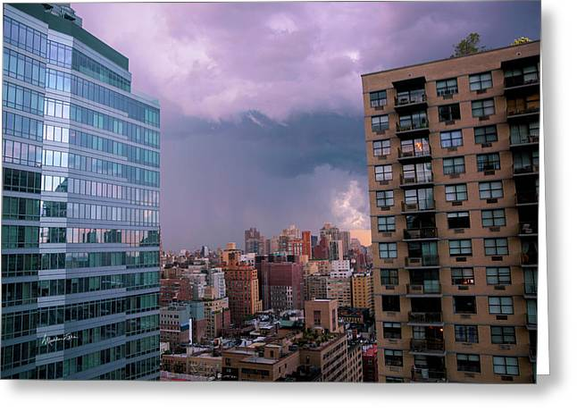 Greeting Card featuring the photograph Threatening Storm - Manhattan - 2016 by Madeline Ellis