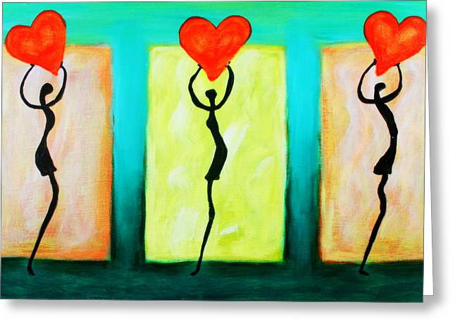 Three Abstract Figures With Hearts Greeting Card
