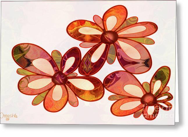 Three Abstract Flowers By Omaste Witkowski Greeting Card by Omaste Witkowski