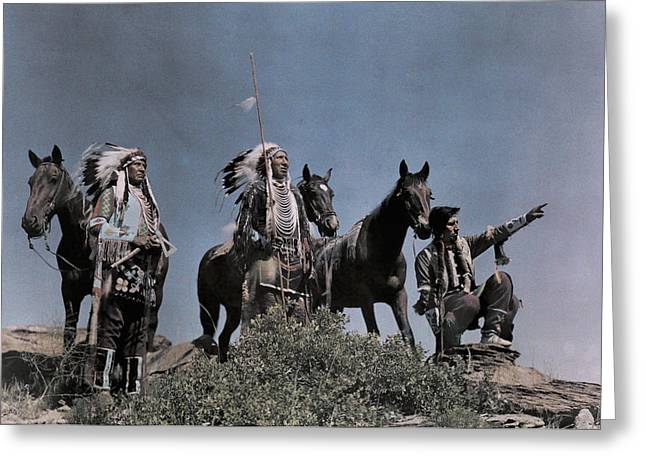 Three American Indians On The Crow Greeting Card by Edwin L. Wisherd