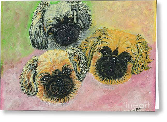 Greeting Card featuring the painting Three Amigos by Ania M Milo