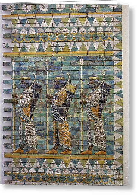 Three Ancient Warriors Greeting Card by Patricia Hofmeester