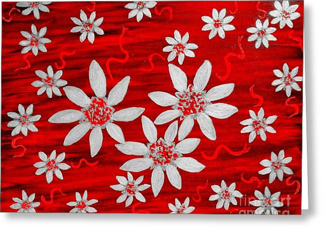 Three And Twenty Flowers On Red Greeting Card