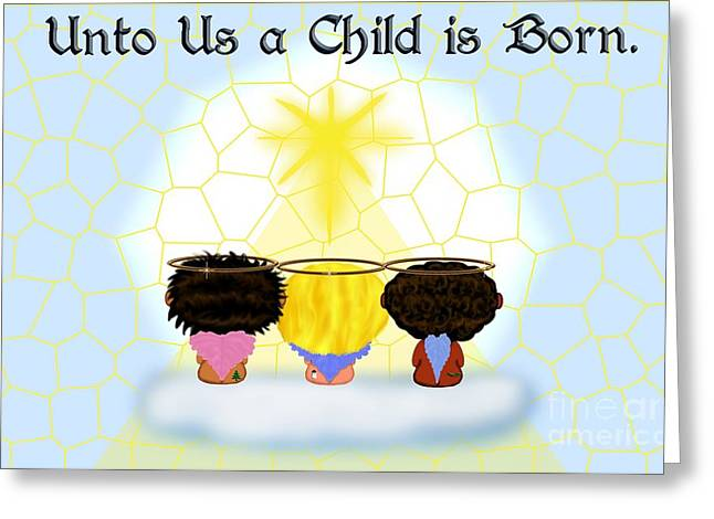 Three Angels Ethnic Greeting Card by Chere Lei
