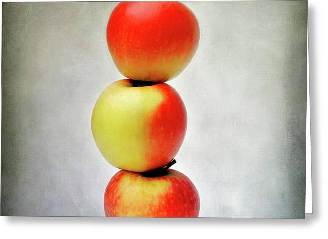 Three Apples Greeting Card by Bernard Jaubert