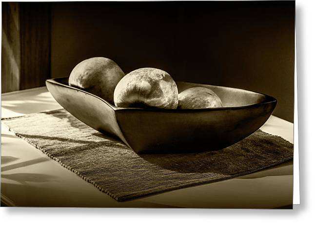 Three Apples In Sepia Tone In A Bowl Greeting Card by Randall Nyhof