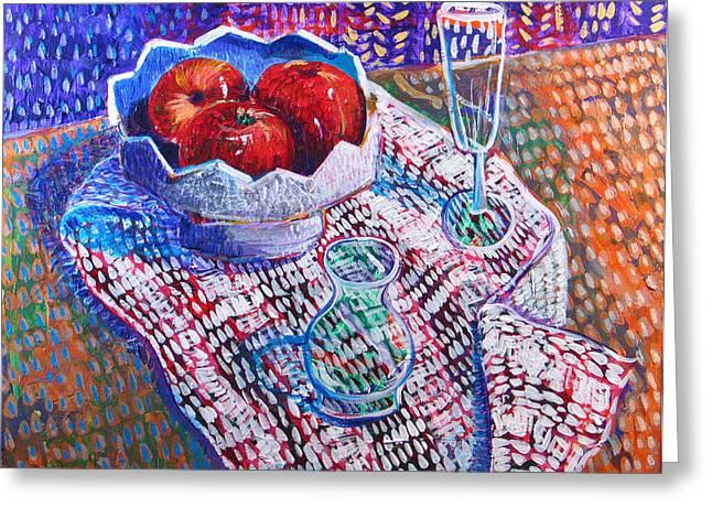 Three Apples Greeting Card by Rollin Kocsis