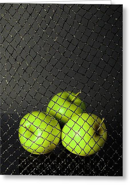 Greeting Card featuring the photograph Three Apples by Viktor Savchenko