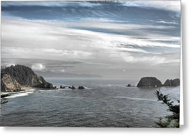 Foggy Ocean Greeting Cards - Three Arch Rocks National Wildlife Refuge near Cape Meares Oregon Greeting Card by Christine Till