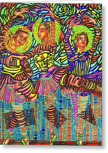 Three Ballerinas Greeting Card